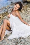 Femme près de la mer Photographie stock libre de droits