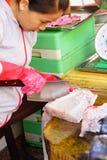 Femme préparant des poissons dans Saigon Image libre de droits