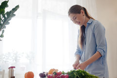 Femme préparant le déjeuner Photo stock
