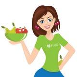 femme présent, plat avec le fruit Photos libres de droits