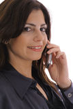 Femme prenant l'upclose d'appel d'affaires Photos stock