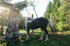 Femme prenant le soin au-dessus du poney noir avec de longs cheveux dans le domaine Images stock