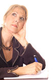 Femme prenant penser de notes images stock
