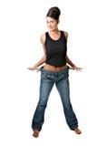 Femme qui a atteint son but de perte de poids et est heureux photos libres de droits