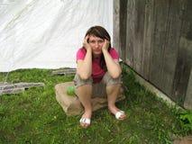 Femme réfléchie Photographie stock libre de droits