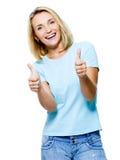 Femme réussie affichant des pouces photo stock