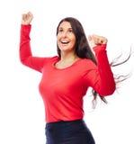 Femme réussie d'affaires de gagnant Images stock