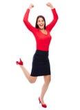 Femme réussie d'affaires de gagnant en rouge Images libres de droits