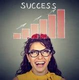 Femme réussie heureuse regardant le diagramme croissant Photo stock