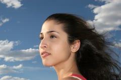 Femme rêveur, beau, grec image stock