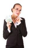 Femme rêveur d'affaires avec de l'euro argent d'argent comptant Photo stock