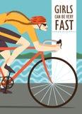 Femme rapide emballant l'affiche de cycliste Photographie stock libre de droits
