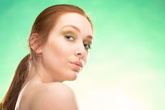 Femme redhaired de beauté Photographie stock