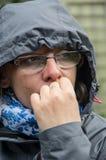 Femme redoutée Photo stock