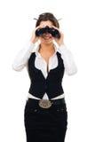 Femme regardant dans binoche Images libres de droits