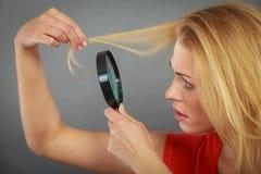 Femme regardant des cheveux par la loupe Images stock