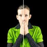 Femme regardant horrifiée les signes du vieillissement photographie stock
