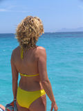 Femme regardant la mer image stock