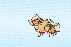 Femme regardant par le fond de papier déchiré Images stock