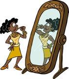 Femme regardant sa propre force dans le miroir illustration de vecteur