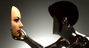 Femme regardant son visage illustration de vecteur