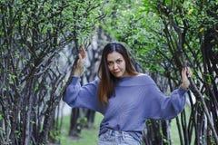 Femme restant sous l'arbre images stock