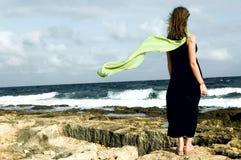 Femme restant sur le bord de la mer avec le châle derrière Image libre de droits