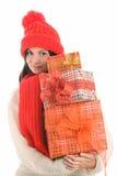 Femme retenant trois cadeaux Photo stock