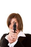 Femme retenant un pistolet Photo stock
