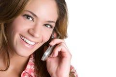 femme riante de téléphone Photographie stock libre de droits