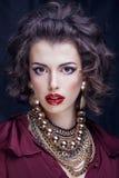 Femme riche de brune de beauté avec beaucoup de bijoux Image libre de droits