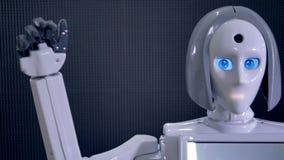 Femme robotique déplaçant son bras indiquant au revoir Fin vers le haut