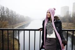femme rose de chapeau Photo stock