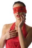 Femme rouge avec le masque images libres de droits
