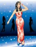 Femme rouge formelle de robe Photos stock