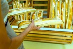 Femme sélectionnant la miche de pain au supermarché photos libres de droits