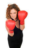 Femme sérieuse de boxe Photo stock