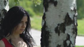 Femme sûre avec le regard strict sous un arbre dehors, souvenirs des relations banque de vidéos