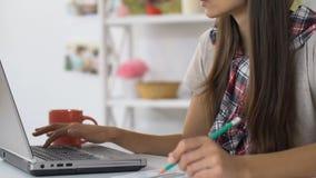Femme sûre employant des opérations bancaires en ligne sur l'ordinateur portable pour payer des utilités et le loyer banque de vidéos