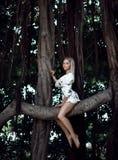 Femme s'asseyant dans les arbres énormes de jungle avec des lianes dans le tenue décontractée blanc photos stock