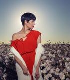 Femme s'asseyant dans un domaine de coton sur le gravier rouge de désert en Arizona photos stock