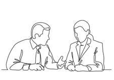 Femme s'asseyante d'homme d'affaires et d'affaires discutant le procédé de travail - dessin au trait continu illustration stock