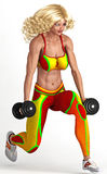 Femme s'exerçant avec des haltères Images libres de droits