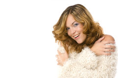 femme s'usant chaud de sourire de chandail Image stock