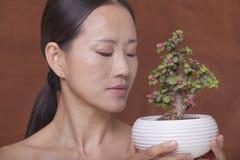 Femme sans chemise maintenant et regardant une petite usine dans un pot de fleur, tir de studio Photographie stock libre de droits