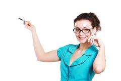 Femme se dirigeant et faisant une présentation image stock