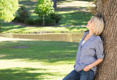 Femme se penchant sur le tronc d'arbre en parc Photographie stock