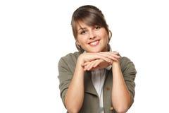 Femme se penchant sur ses coudes Photographie stock
