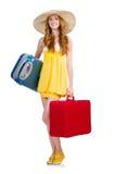 Femme se préparant aux vacances d'été Image stock