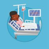 Femme se situant dans l'illustration de vecteur de lit d'hôpital Images stock